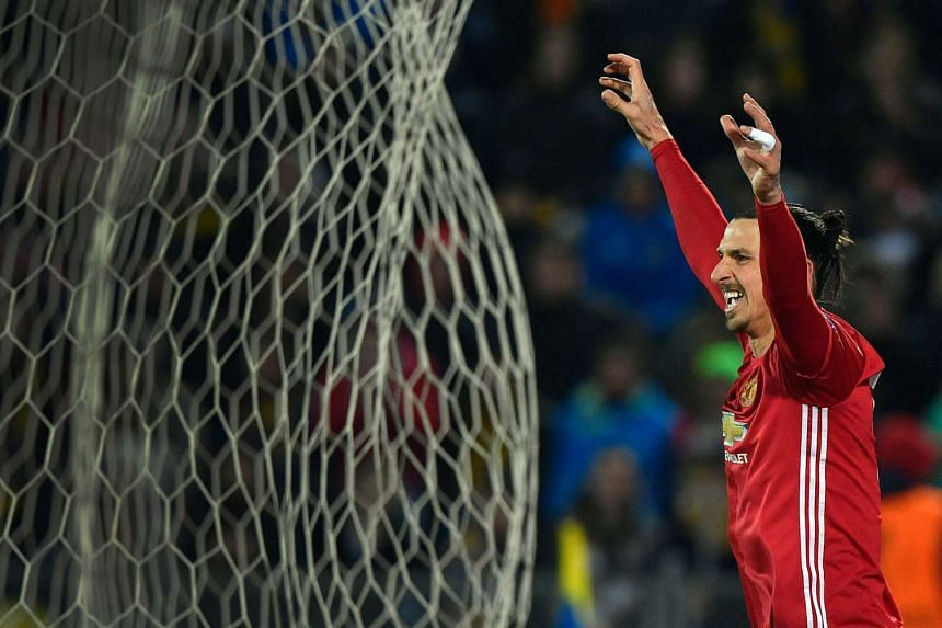 Manchester United's Zlatan Ibrahimovic celebrates after scoring a goal during the Uefa Europa League round of 16 football match between Rostov and Manchester United.