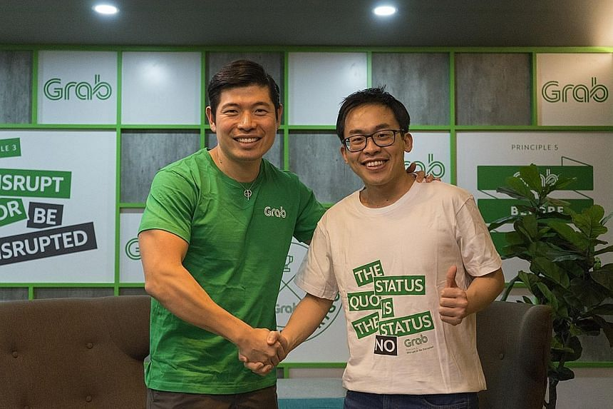 Mr Albert Lucius (right), CEO of Kudo, seen here with Grab co-founder Anthony Tan. Grab hopes to see many more people don its green colours by leveraging on Kudo to bring in more riders, drivers and GrabPay users onto the Grab platform.