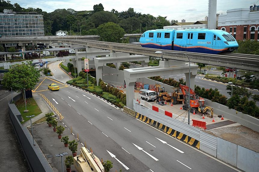 The entrance of the Sentosa Gateway Tunnel. The tunnel links outbound traffic from Sentosa to Lower Delta Road and Keppel Road. It was supposed to be ready by 2015, but was delayed due to construction challenges posed by the proximity of the North Ea