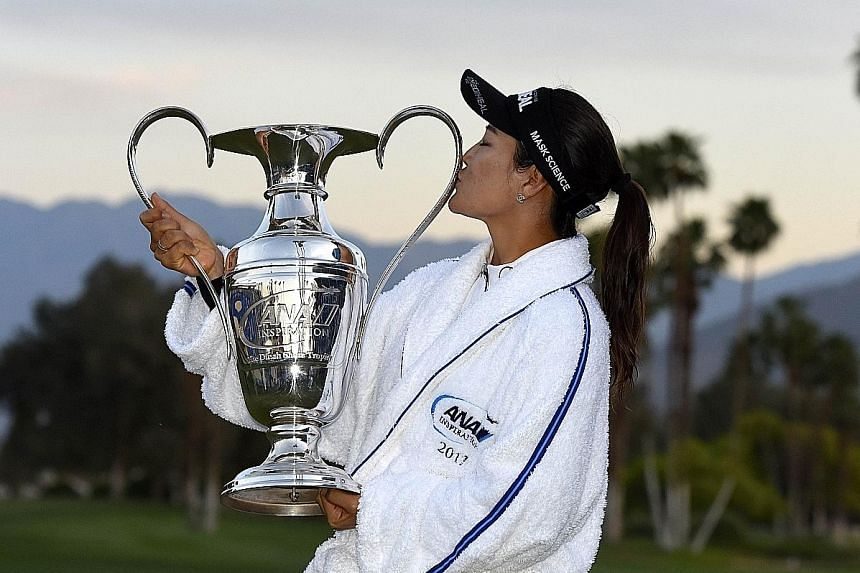 Ryu So Yeon kissing the ANA Inspiration trophy, the first Major of 2017. This was Ryu's second Major and the victory moves her up to world No. 2 behind Lydia Ko of New Zealand.