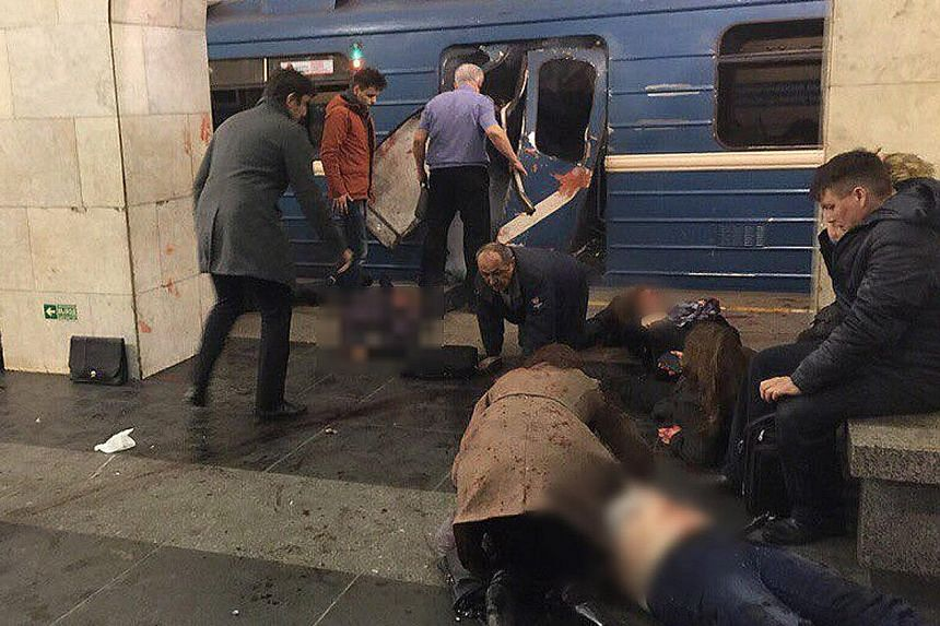 An improvised bomb filled with shrapnel went off yesterday afternoon inside a subway train in St Petersburg, Russia. The blast may have been caused by an explosive device hidden in a briefcase, according to the Interfax news agency, which also said s