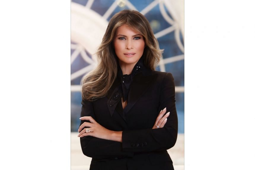 The official portrait of First Lady Melania Trump.