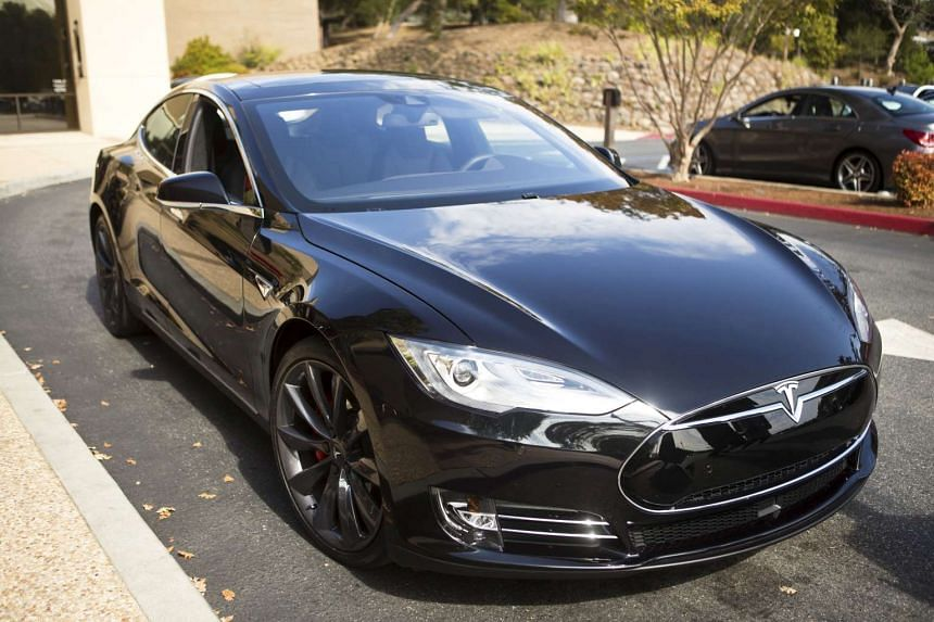 A Tesla Model S with Autopilot features is seen in Palo Alto, California.