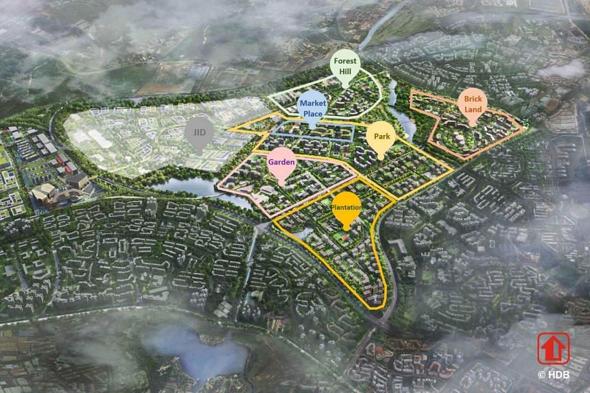 """A map showing the five new housing districts in Tengah, which will be Singapore's first """"forest town""""."""