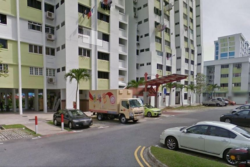 A view of Block 145, Yishun Street 11 where a knife attack on a 21-year-old man took place on April 2, 2017.