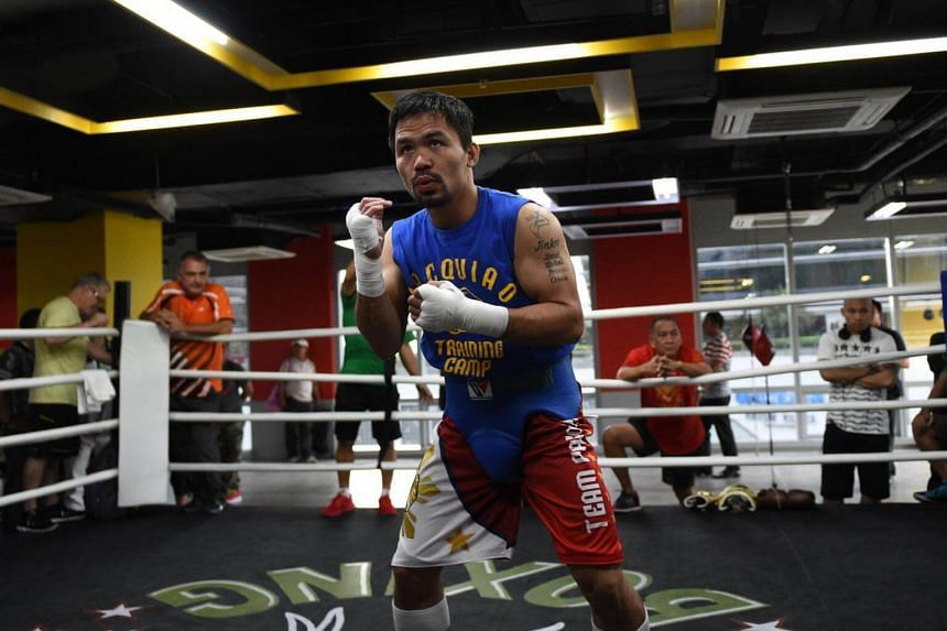 Philippine boxing icon Manny Pacquiao trains at a gym in Manila, ahead of his Nov 6, 2016 bout with Mexican boxer Jessie Vargas.
