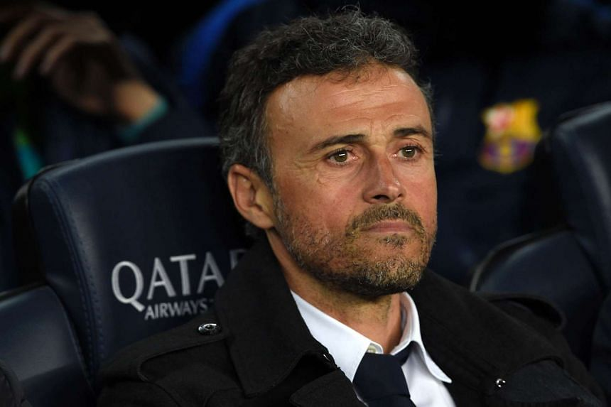 Barcelona's coach Luis Enrique looks on before the Spanish league football match between FC Barcelona vs Valencia CF.