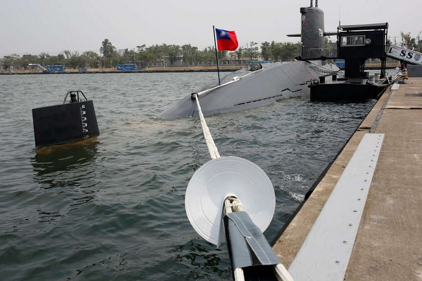 Taiwanese Hai Lung-class submarine (SS-794) is seen at a navy base in Kaohsiung.