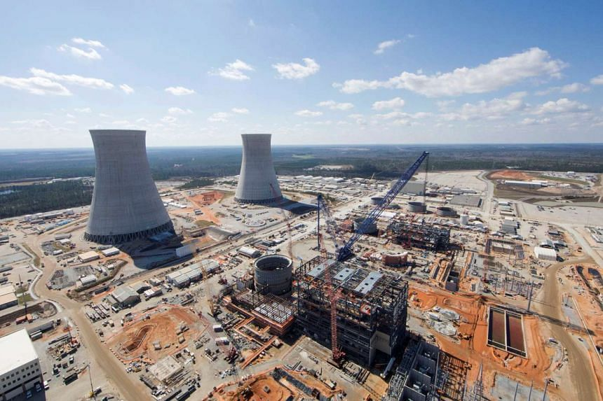 The Vogtle Unit 3 and 4 site, being constructed by primary contactor Westinghouse, a business unit of Toshiba, near Waynesboro, Georgia, US, is seen in an aerial photo taken in February 2017.