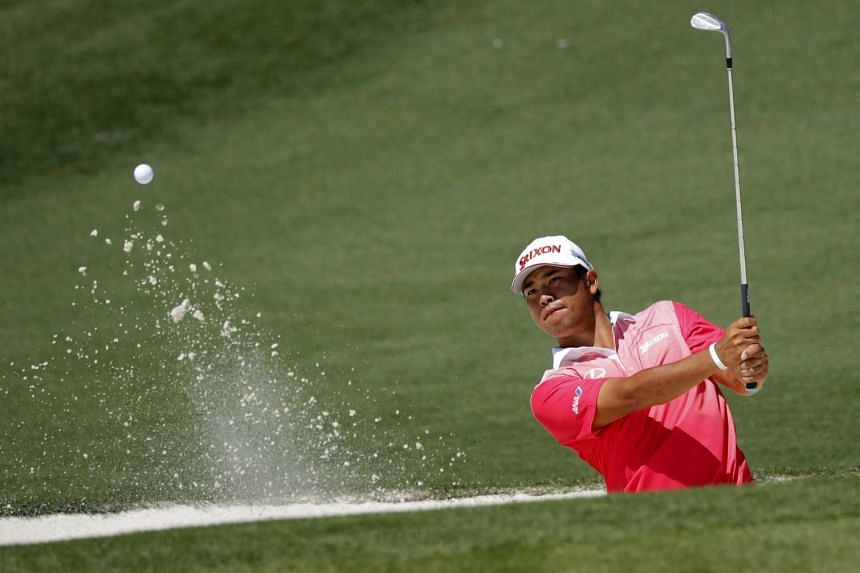 Hideki Matsuyama of Japan hits to the second green during Tuesday practice rounds for the 2017 Masters.