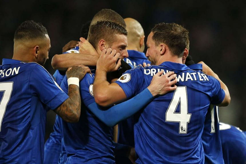 Leicester City's Jamie Vardy celebrates scoring their second goal.