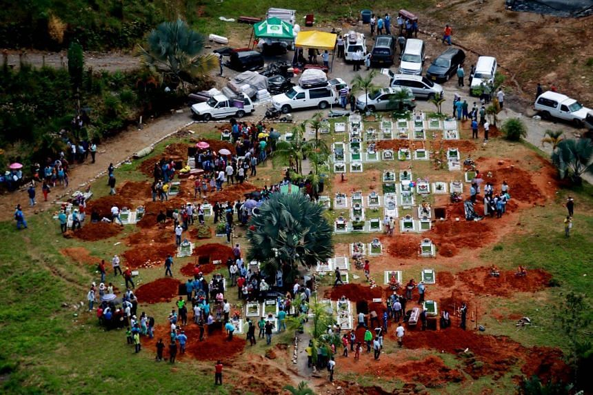 An aerial view of a mass funeral in Mocoa, Colombia, where heavy rains caused massive mudslides.