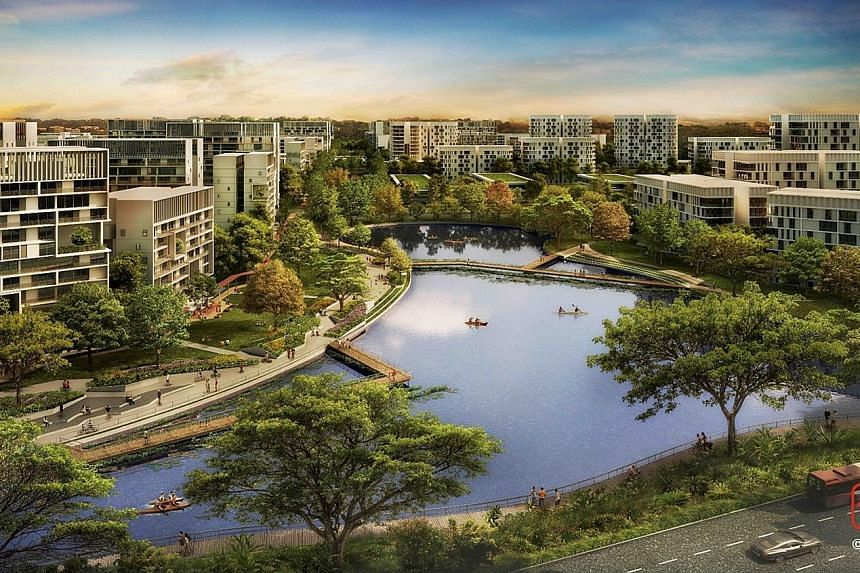 An artist's impression of Tengah new town, which will eventually contain 42,000 homes - 30,000 public and 12,000 private. The first public flats will be launched next year.
