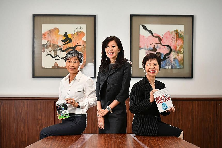 From left: Singapore Association of Women Lawyers (SAWL) Scholarship Fund honorary treasurer Anne Choo, SAWL executive committee member and chair of the fund's board of trustees Foo Siew Fong, and SAWL president and the fund's honorary secretary Ong