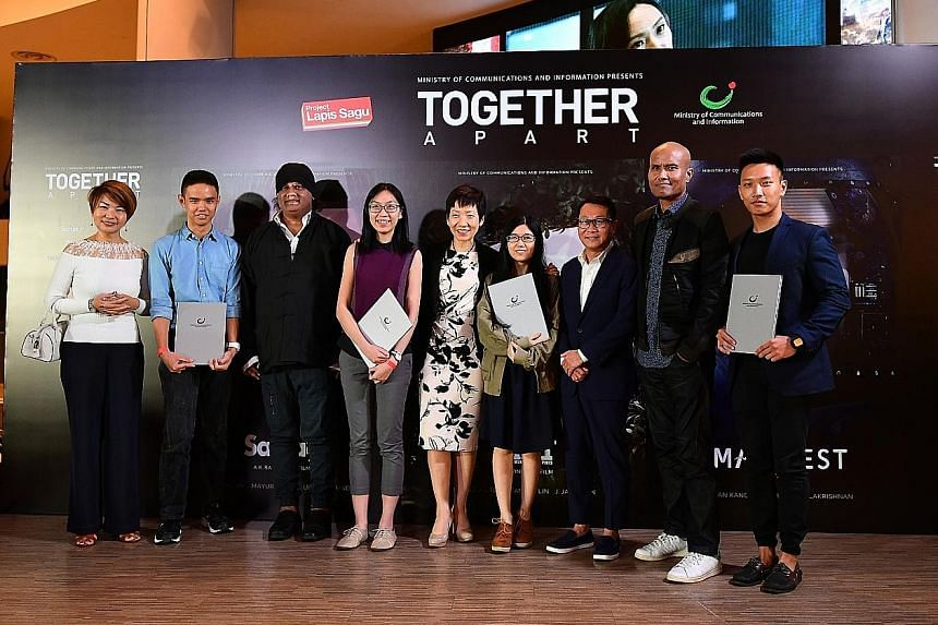The directors of the three films, together with the winners of the Project Lapis Sagu online contest and Minister Grace Fu (centre), at the media preview at Shaw Lido theatre yesterday. On the extreme left is Ms Karen Tan, senior director of the Mini