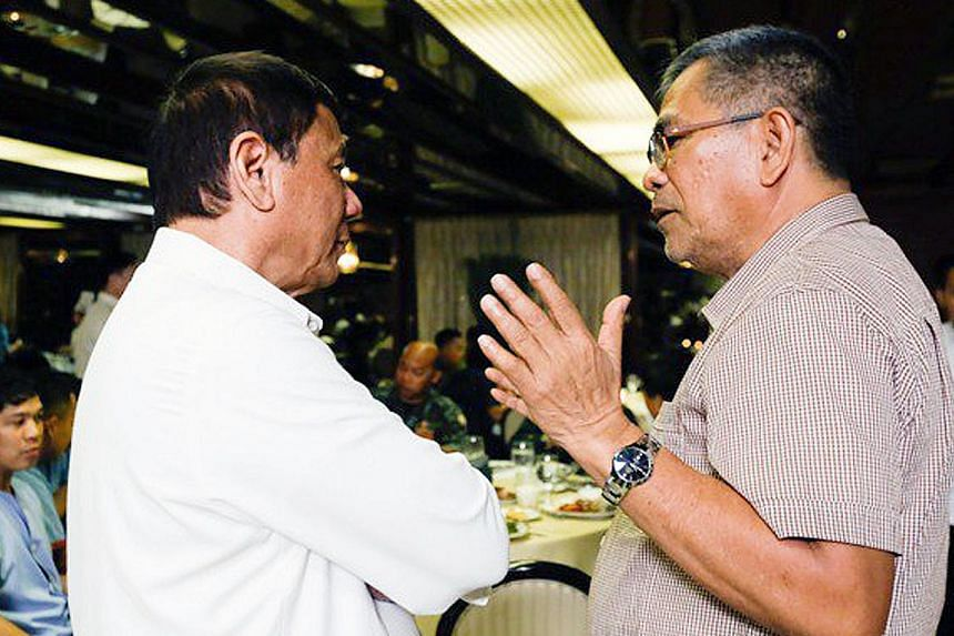 A file photo from last year showing Mr Rodrigo Duterte and Mr Ismael Sueno, who oversaw the President's anti-narcotics drive that has left over 7,000 suspects dead.
