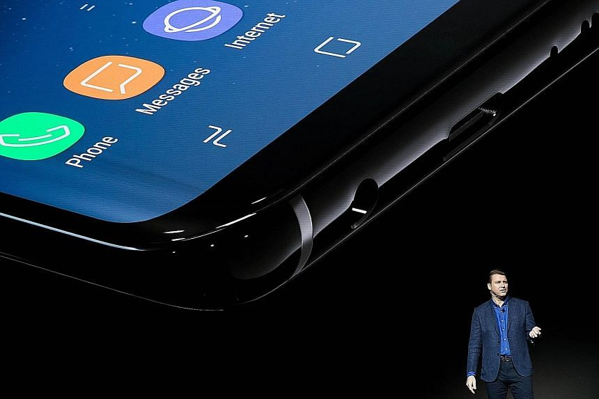 Mr Justin Denison, senior vice-president of product strategy at Samsung, speaking about the new features on the Samsung Galaxy S8 at the launch event for the smartphone in New York City last week.
