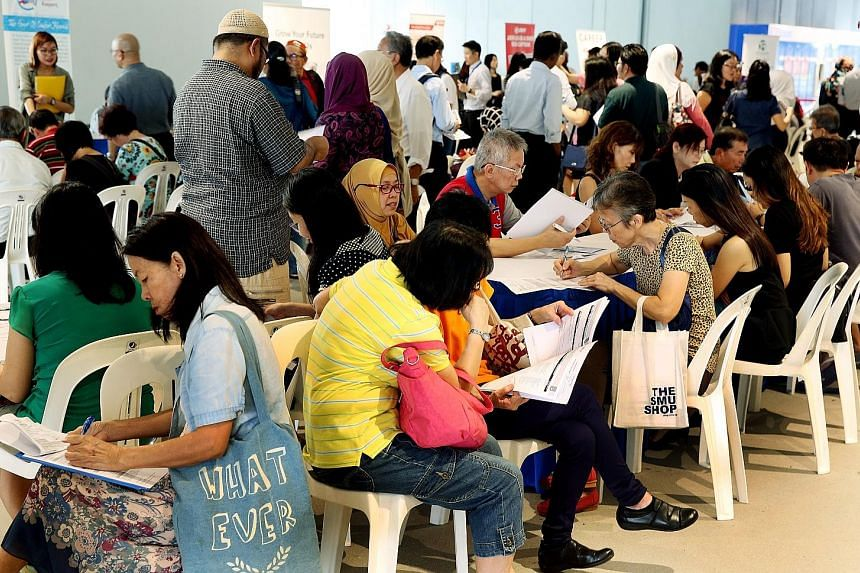 More than 500 people attended the first inclusive job fair targeted at older workers yesterday at Our Tampines Hub. Nineteen companies participated in the fair, offering positions such as patient service assistants, technicians and retail assistants.