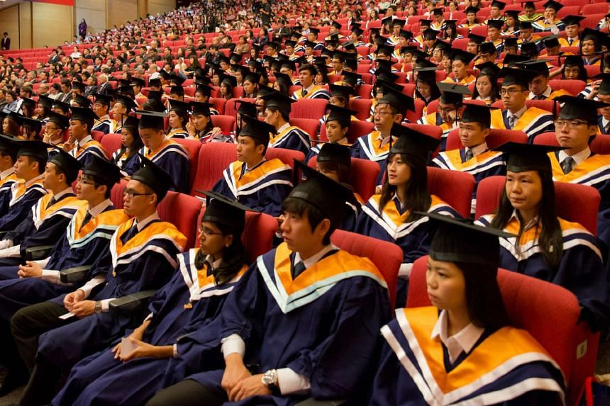 Nanyang Technological University graduates at their convocation ceremony.