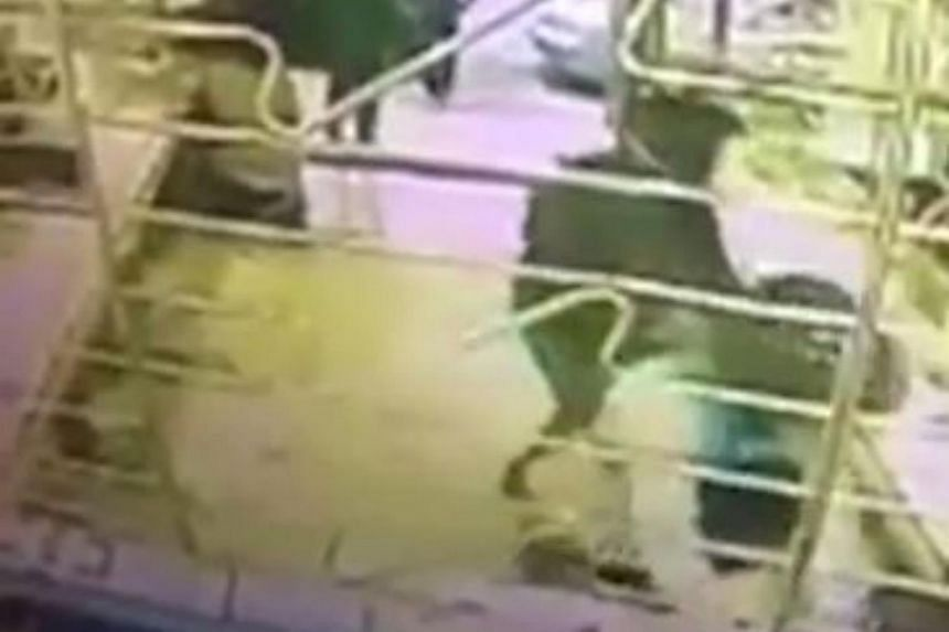 CCTV footage showed the robbers smashing display cases with a sledgehammer before snatching the jewellery.