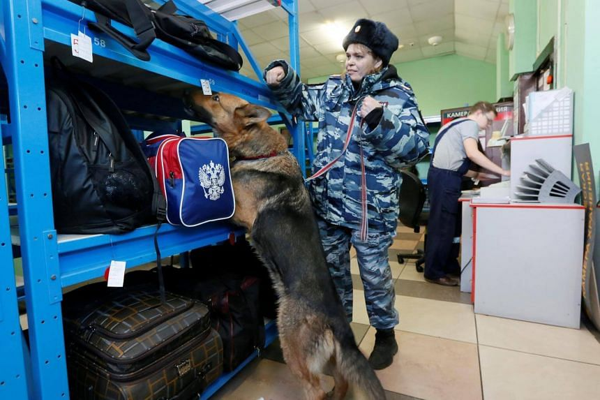 A Russian police sniffer dog checks for explosives at a railway station in Krasnoyarsk.