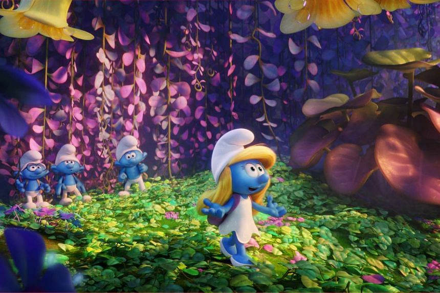 From left) Brainy, Clumsy, Hefty and Smurfette venture into the wild blue yonder in Smurfs: The Lost Village.