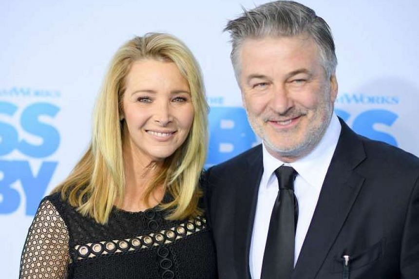 Alec Baldwin with actress Lisa Kudrow, who also voices a character for The Boss Baby.