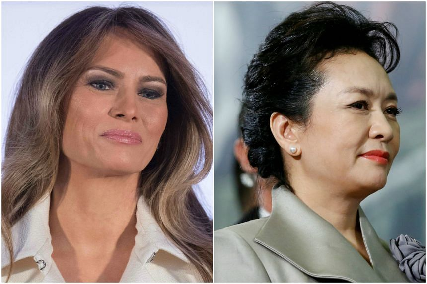 US First Lady Melania Trump (left) will meet her Chinese counterpart Peng Liyuan when they join their husbands for a dinner on Thursday (April 6).