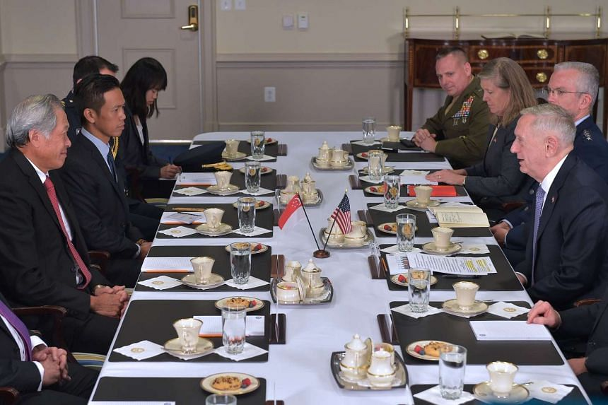 US Defence Secretary James Mattis (right) speaks at the start of a bilateral meeting with Singapore's Defence Minister Ng Eng Hen at the Pentagon on April 5, 2017, in Washington, DC.