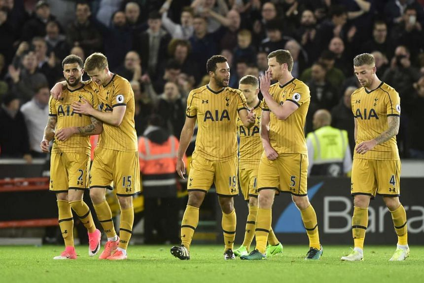 Tottenham players celebrates after the match.