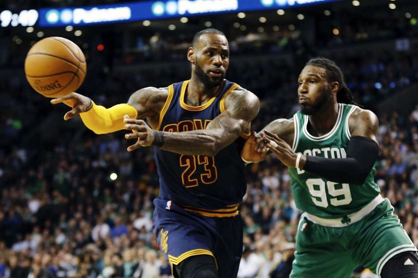 Cleveland Cavaliers forward LeBron James (left) in action with Boston Celtics forward Jae Crowder in the game on April 5, 2017.