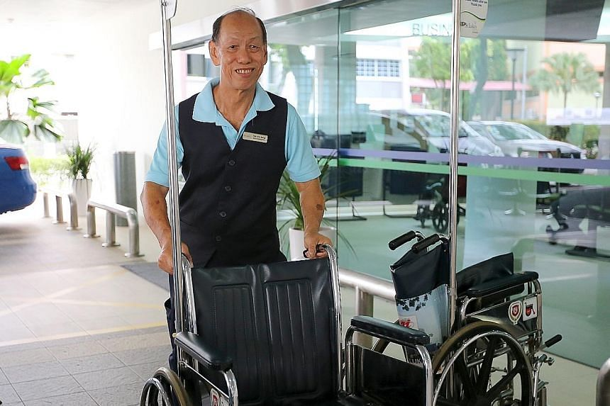 Mr Tan Ann Seng has been working as a service ambassador at St Luke's Hospital since 2014. He has also been volunteering with stroke patients for the last five years, sharing his own experiences to encourage them.