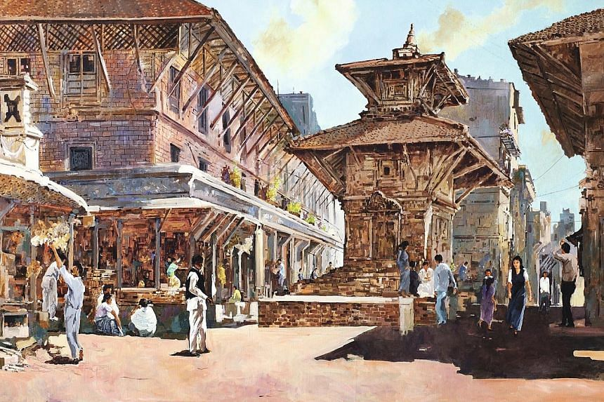 The artwork titled Nepal (above) by Singapore pioneer artist Ong Kim Seng (left).