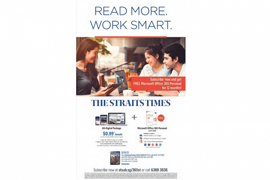 The Straits Times (ST) All-Digital Package is being offered at a promotional price of just 99 cents a month for the first three months and offers unlimited access to online news articles, a seven-day news archive and the ST e-paper.