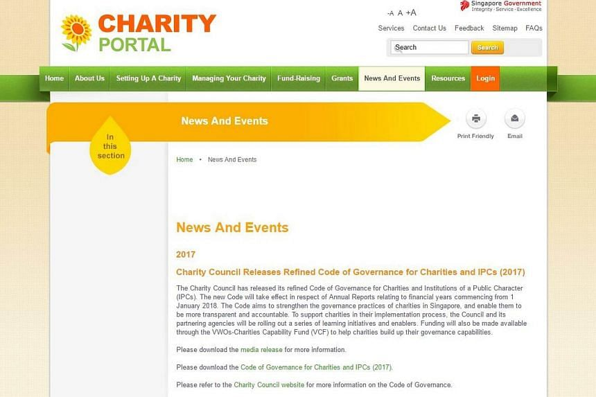 The Charity Council has released a revised code of governance for charities and institutions of a public character in Singapore.