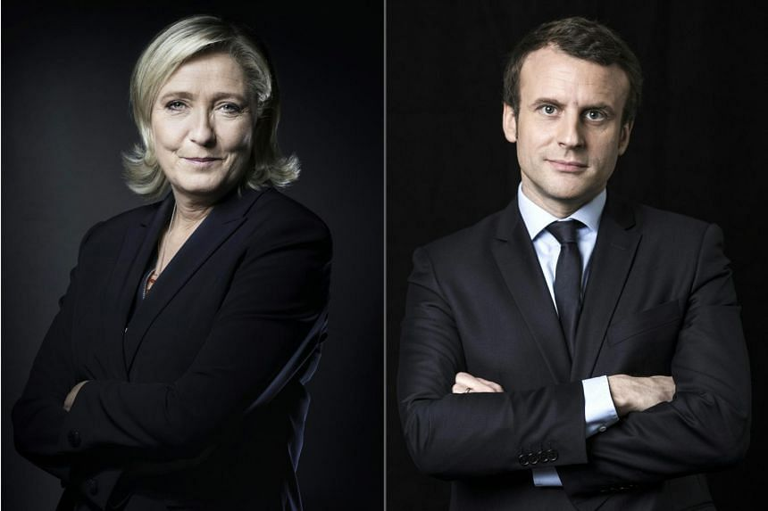 Leader of the French far-right Front National (FN) party Marine Le Pen and En Marche! centrist movement leader Emmanuel Macron.