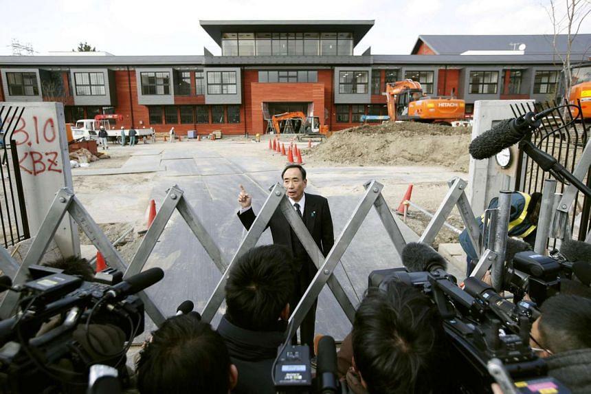 Yasunori Kagoike, administrator of Moritomo Gakuen, speaking to media at an elementary school under construction in Toyonaka, Osaka prefecture, Japan, on March 9, 2017.