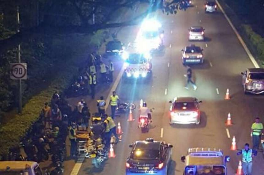 Five suffered minor injuries in an accident involving four motorcycles and two cars on April 6, 2017.