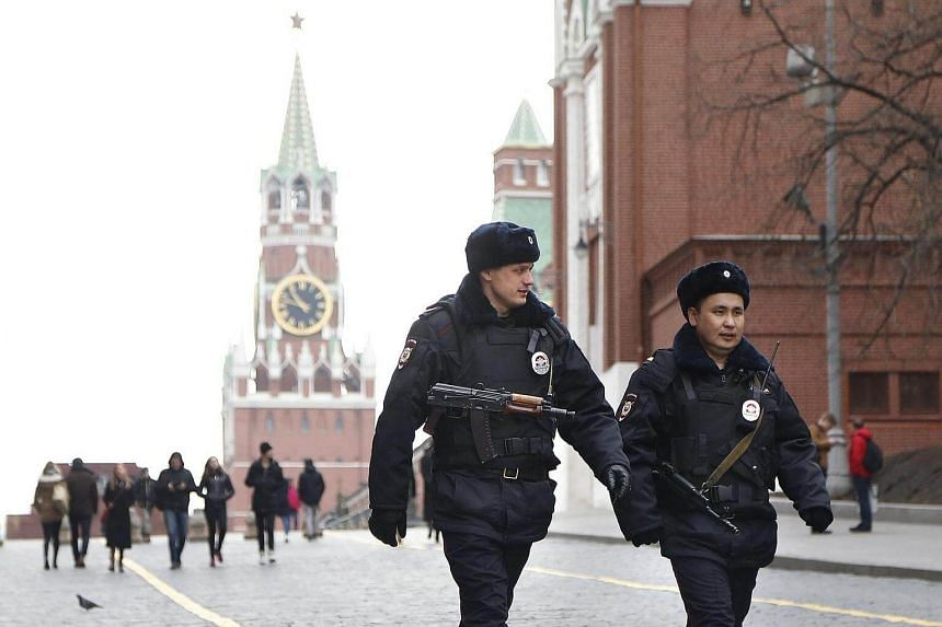 Russian police officers patrolling the Red Square in Moscow on April 4, 2017. Security measures were tightened in Moscow's metro after a blast in St Petersburg on April 3.
