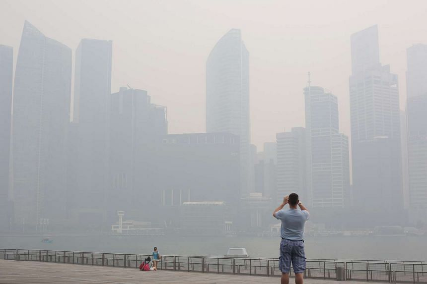 The Singapore city skyline was obscured by the haze on June 20, 2013.
