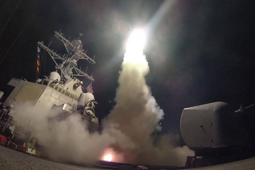 The United States fired dozens of missiles on Friday at a Syrian airbase from which it said the chemical attack was launched.