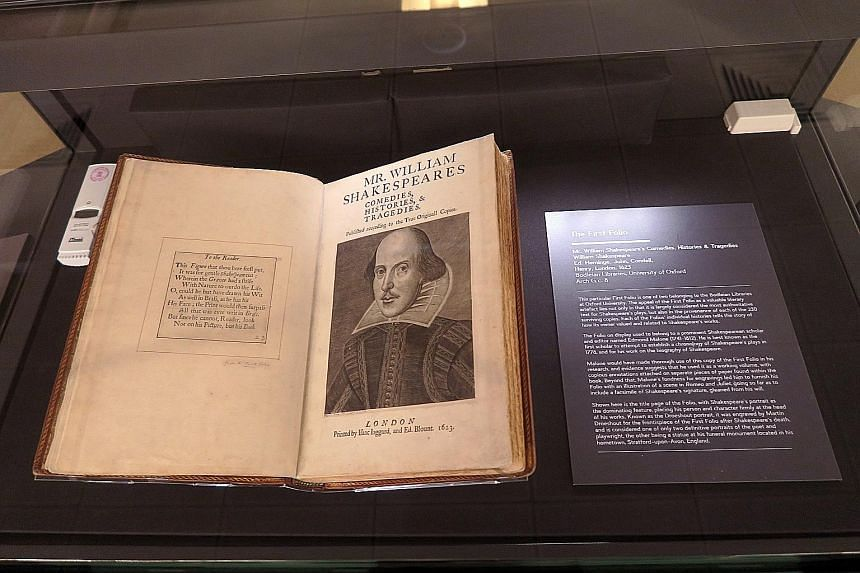 A nearly 400-year-old first edition of William Shakespeare's plays is on display at the show, Shakespeare In Print: The First Folio.