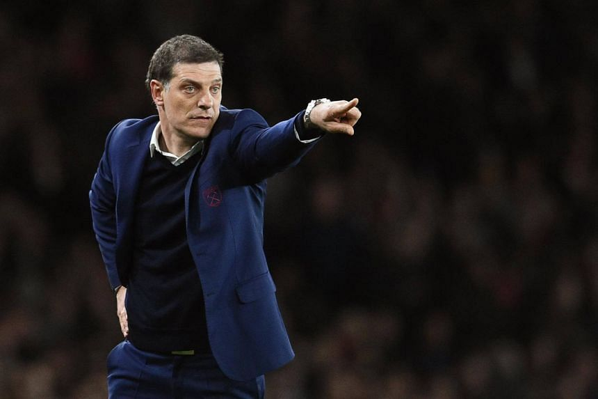 West Ham United manager Slaven Bilic reacts during the English Premier League soccer match between Arsenal FC and West Ham United in London, Britain, on April 05, 2017.