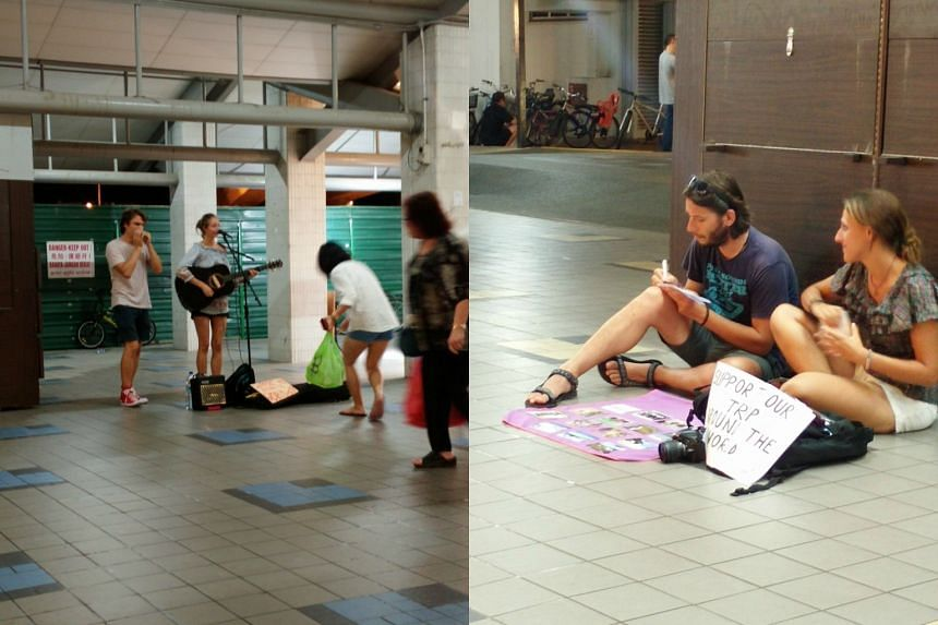 Four buskers who were asking for funds to travel the world stirred up debate online.