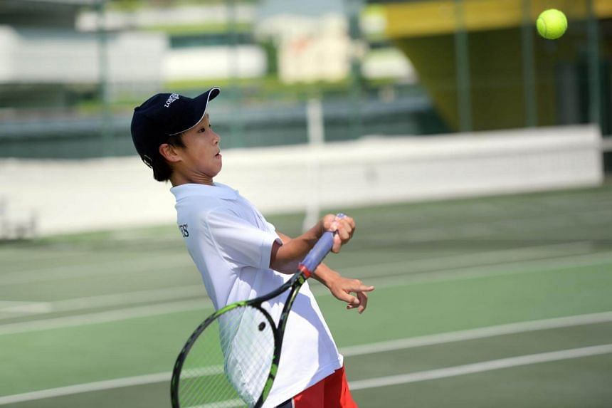 National junior tennis player Matthias Wong during the final day of the Singapore qualifying trial for the Longines Future Tennis Aces tournament.