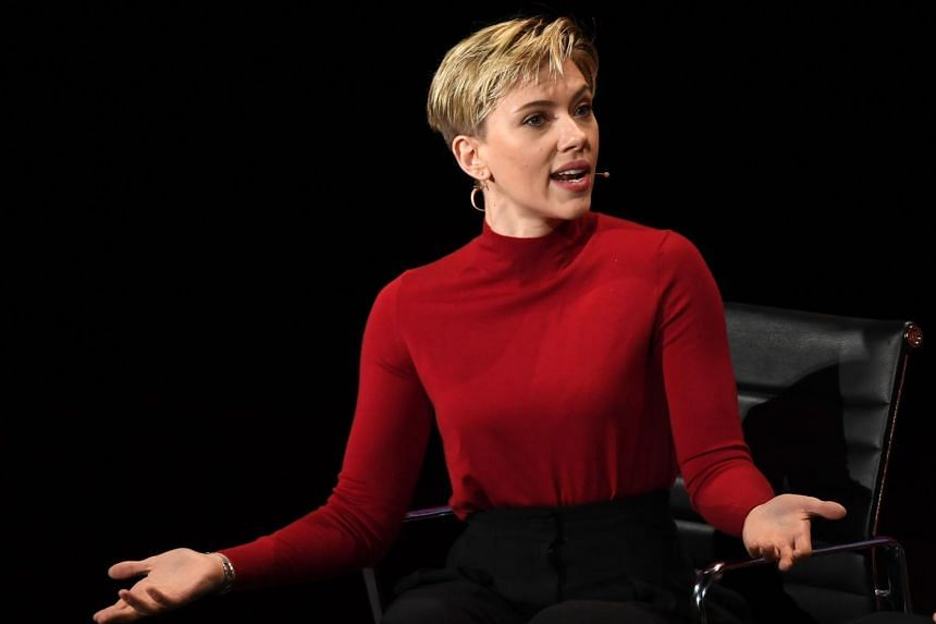 Actress Scarlett Johansson speaks at the Eighth Annual Women In The World Summit at Lincoln Centre for the Performing Arts.