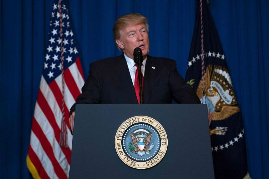 US President Donald Trump delivering a statement on Syria from the Mar-a-Lago estate in West Palm Beach, Florida, on April 6, 2017.
