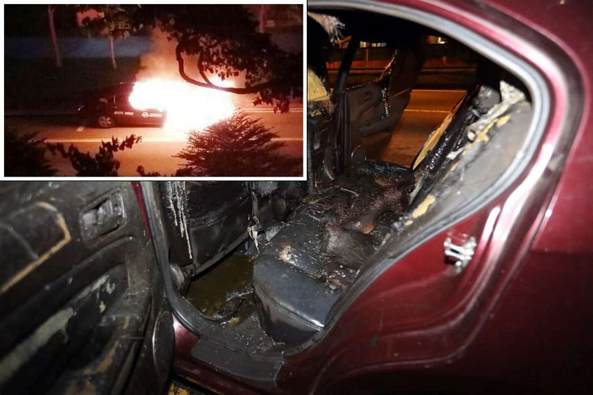 The taxi reportedly burst into flames after the cabby and passenger escaped from it.