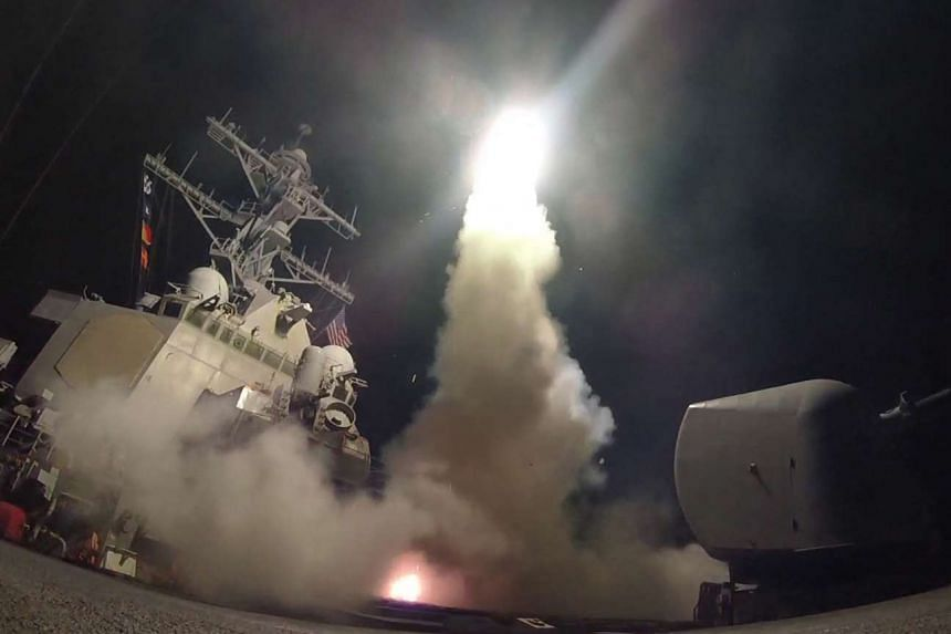 The guided-missile destroyer USS Porter conducts strike operations while in the Mediterranean Sea, April 7, 2017.
