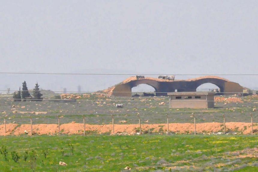A view of the damaged Shayrat airfield on April 7, 2017.